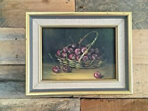 MID CENTURY STILL LIFE OIL ON BOARD PAINTING BY FRANK LEAN CHERRIES IN A BASKET