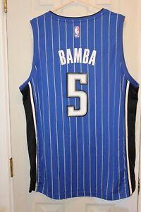 blue / pinstriped Orlando Magic Mohamed Bamba (5) replica jersey (NWOT) - XL