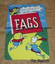 vintage LOLLY CIGARETTE FAGS TIN SIGN candy retro smoking Fads deli SWEETS OLD