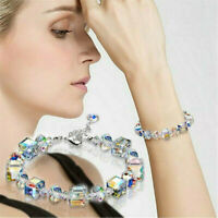 Crystal Aurora Borealis Transparent Beads Bracelet Wedding Bridal Jewelry Hot