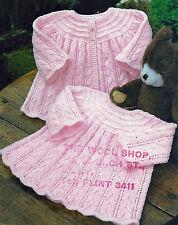 BABY COAT & DRESS IN 4 PLY & DK KNITTING PATTERN (16/20 INCH)  859