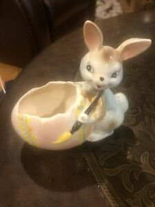 Vintage Relpo Easter Bunny Painting Egg Planter Paint Brush Japan Some Repairs