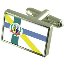 Embu-Guacu City Sao Paulo State Sterling Silver Flag Cufflinks Engraved Box