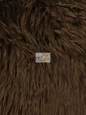 "FAUX FAKE FUR SOLID MONGOLIAN LONG PILE FABRIC - Brown - 60"" SOLD BY THE YARD"