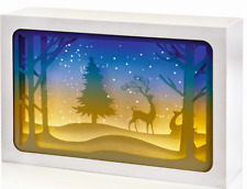 Paper Diorama with Reindeer Scene with LED Lights Tabletop Decoration Ideal Gift