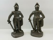 Vintage Antique Cast Iron Bookends Medieval Knight with Sword and Armor Rare