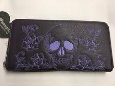 Black Loungefly Skull print zipper wallet