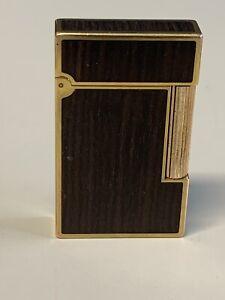 St Dupont Brown Woodgrain Gold Trim Lighter Paris