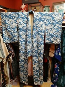 Full Length Vintage Kimono Japan Silk Blend Mixed Material Blue Pink Floral