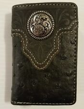 Men's Small Black Trifold Wallet NWT! Faux Leather Concho Native