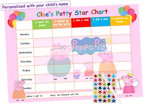 Potty Toilet Training Reward Chart Personalised Boys Girls Sticker Reusable PP2