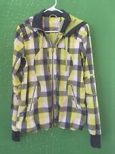 7722)  LULULEMON sz 8 track and field jacket lime green gray check full zip