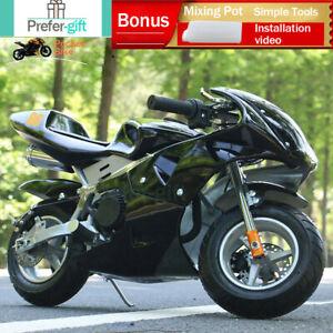 49cc Mini Motorbike Kids Teen Pocket Bikes Rocket Pee Wee Motorcycle 50cc Black