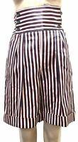 New $1010 Dolce & Gabbana Womens 40/4 Red Blue Striped High-Waist Bermuda Shorts