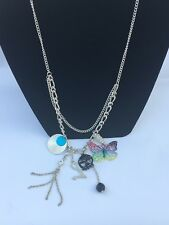 Dangly Butterfly Skull Feather Necklace