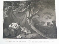 GRAVURE Eau FORTE XIX SOLDAT MORT ROMANTISME MILITAIRE NAPOLEON BOVINET 1821