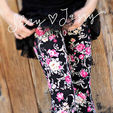 Posh Boutique Black Floral Print Leggings Buttery Soft One Size OS 2-12
