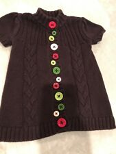Gymboree Girls Brown Cable Knit Sweater Dress Colorful Buttons Sz 12-18 Months