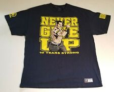 WWE Authentic Wear John Cena Never Give Up 10 Years Strong T Shirt Mens Sz XL SS