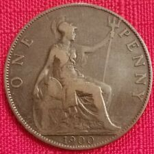 1900 Great Britain One Penny - 1p - Queen Victoria - UK - 119 yrs old. See pics.