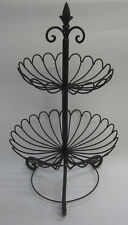 2 Tier Rustic Country French Provincial Basket Stand For Fruit,Vegetables Brown