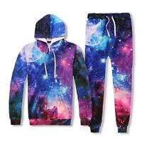 Men Women Hoodie Jacket Coat 3D Galaxy Printing Pocket Jumper Sweatshirt Hoodies