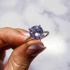 3.68 TCW Round Cut Moissanite Engagement Ring In 14k White Gold Plated