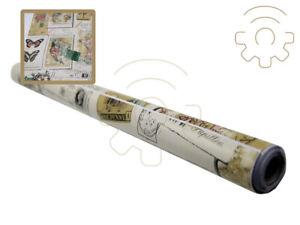 Carta plastica pellicola adesiva fantasia mappa vintage mt 2x45 cm per cassetti