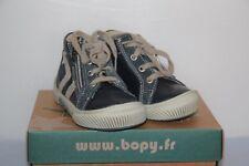 BOPY -  Birama - Chassures bébé Garçon -  Cuir Bleu et Gris  -  T 19  neuf