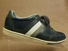 Hugo Boss Men Leather Textile Blue Fashion Sneakers Casual Lace Up Shoes Size 43