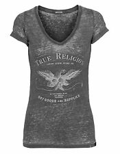 True Religion épuisement professionnel Eagle Vneck Jet Black T-shirt chemisier top 36 38 M S