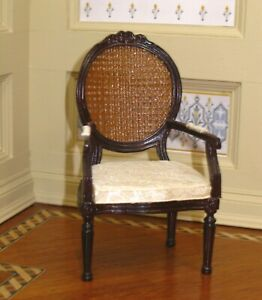 Bespaq Dark Wood Cane Back Chair w/ Upholstered Seat Cushion Dollhouse Miniature