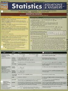 BarCharts Statistics Equations & Answers Quick Study Academic Outline Laminated