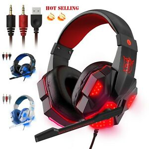 3.5mm Gaming Headset Mic LED Headphones Stereo Bass Surround For PC PS4 Xbox One