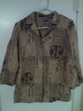 Chico's Design 100% Silk Brown Chinese Design Long Sleeve Shirt Size 0