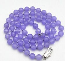 New 8mm Purple Jade Round Gemstone Beads Necklace 18""