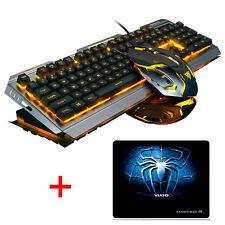 UK Gaming Mouse Keyboard Combo V1 Yellow LED Backlit Usb Gaming Keypad+Mouse Pad