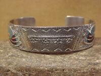 Navajo Indian Sterling Silver Tufa Cast Chip Inlay Kokopelli Bracelet by Ray B!
