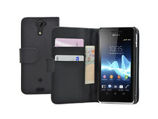 Black Wallet Leather Case cover for Sony Xperia V experia +2 SCREEN PROTECTORS