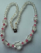 Glass & Crystal Bead Necklace Delightful Genuine Art Deco Faceted Pink