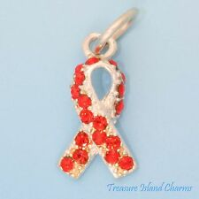 AIDS HIV AWARENESS RIBBON .925 Sterling Silver Charm with RED SWAROVSKI CRYSTAL