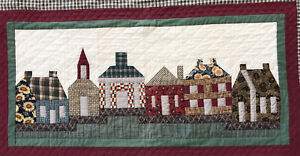 Amish made quilt wall hanging Folk Art Village  Burgundy Green