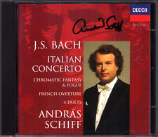 Andras SCHIFF Signed BACH Italian Concerto Chromatic Fantasy French Overture CD