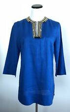 Anne Klein Tunic Top Blue Embellished Size 6