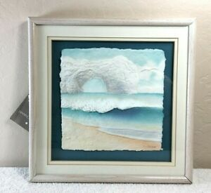 Vintage Figi Graphics Arched Cliff Beach Print Signed by Artist Wess