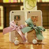 Case for iPhone 6 6s 6 Plus 6s Plus 7 7 Plus Girly Bow Pendant Clear TPU Cover