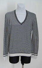MENS BEN SHERMAN THIN JUMPER SWEATER 100 % COTTON NAVY WHITE STRIPED L LARGE