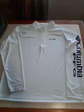 Columbia Pfg Omni-Shade White Men's 1/4 Zip Long Sleeve Pullover Sz Xxl