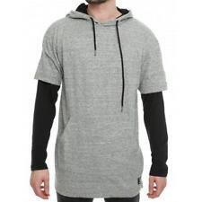 $38 L XL AKADEMIKS elite 2-fer HOODIE A36HD09 Gray black long sleeve sweatshirt