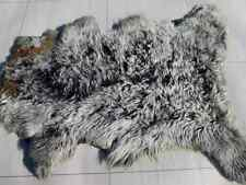 sheepskin leather hide White Tipped Black long curly thick haired